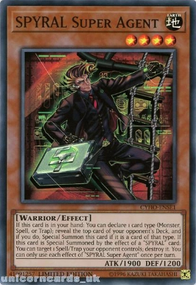 Picture of CYHO-ENSE1 SPYRAL Super Agent Super Rare Limited Edition Mint YuGiOh Card