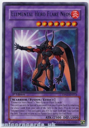 Picture of DP03-EN013 Elemental Hero Flare Neos Rare 1st Edition Mint YuGiOh Card