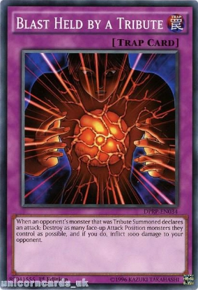 Picture of DPRP-EN034 Blast Held by a Tribute 1st edition Mint YuGiOh Card