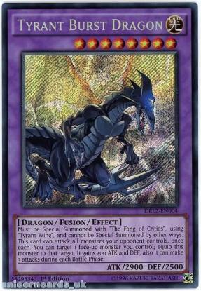 Picture of DRL2-EN004 Tyrant Burst Dragon Secret Rare 1st edition Mint YuGiOh Card