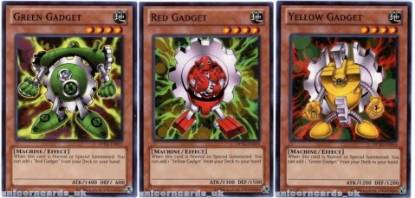 Picture of DPYG Green Gadget + Red Gadget + Yellow Gadget - 3 1st Edition Mint YuGiOh Cards
