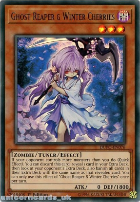 Picture of DUPO-EN076 Ghost Reaper & Winter Cherries Ultra Rare 1st Edition Mint YuGiOh Card