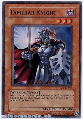 Picture of EP1-EN006 Familiar Knight Mint Yu-Gi-Oh! Card