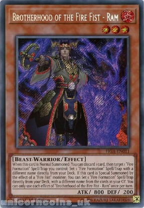 Picture of FIGA-EN011 Brotherhood of the Fire Fist - Ram Secret Rare 1st Edition Mint YuGiOh Card