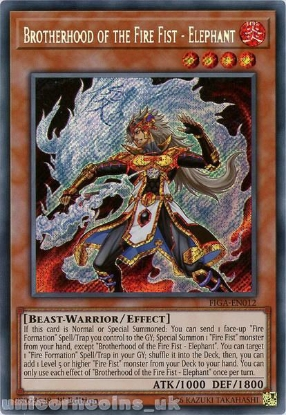 Picture of FIGA-EN012 Brotherhood of the Fire Fist - Elephant Secret Rare 1st Edition Mint YuGiOh Card