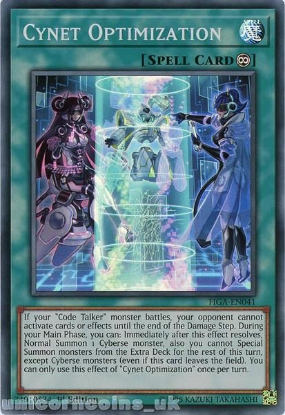 Picture of FIGA-EN041 Cynet Optimization Super Rare 1st Edition Mint YuGiOh Card