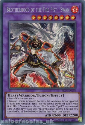 Picture of FIGA-EN015 Brotherhood of the Fire Fist - Swan Secret Rare 1st Edition Mint YuGiOh Card