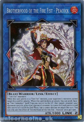 Picture of FIGA-EN017 Brotherhood of the Fire Fist - Peacock Secret Rare 1st Edition Mint YuGiOh Card