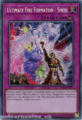 Picture of FIGA-EN021 Ultimate Fire Formation - Sinto Secret Rare 1st Edition Mint YuGiOh Card