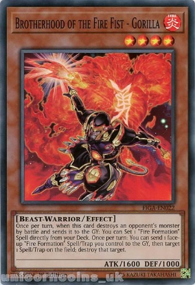 Picture of FIGA-EN022 Brotherhood of the Fire Fist - Gorilla Super Rare 1st Edition Mint YuGiOh Card