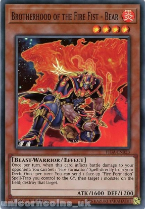 Picture of FIGA-EN023 Brotherhood of the Fire Fist - Bear Super Rare 1st Edition Mint YuGiOh Card