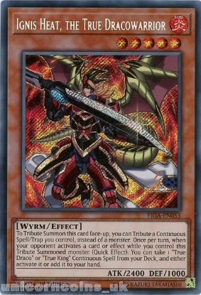 Picture of FIGA-EN053 Ignis Heat, the True Dracowarrior Secret Rare 1st Edition Mint YuGiOh Card