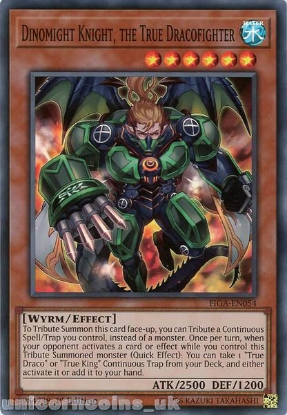 Picture of FIGA-EN054 Dinomight Knight, the True Dracofighter Super Rare 1st Edition Mint YuGiOh Card