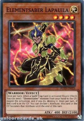 Picture of FLOD-EN023 Elementsaber Lapauila Super Rare UNL Edition Mint YuGiOh Card