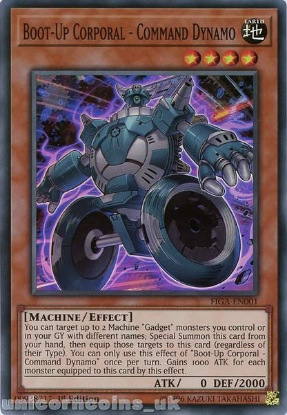 Picture of FIGA-EN001 Boot-Up Corporal - Command Dynamo Super Rare 1st Edition Mint YuGiOh Card