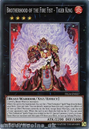 Picture of FIGA-EN027 Brotherhood of the Fire Fist - Tiger King Super Rare 1st Edition Mint YuGiOh Card