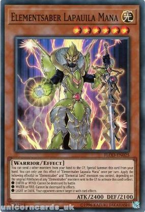 Picture of FLOD-EN025 Elementsaber Lapauila Mana Super Rare UNL Edition Mint YuGiOh Card