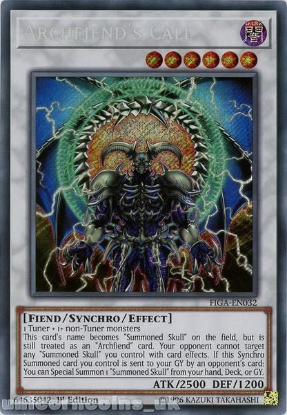 Picture of FIGA-EN032 Archfiend's Call Secret Rare 1st Edition Mint YuGiOh Card