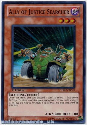 Picture of HA02-EN019 Ally of Justice Searcher Super Rare 1st Edition Mint YuGiOh Card