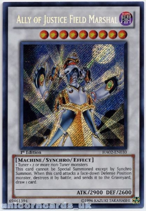 Picture of HA02-EN030 Ally of Justice Field Marshal Secret Rare 1st Edition Mint Ygo Card