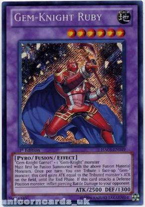 Picture of HA05-EN019 Gem-Knight Ruby Secret Rare 1st Edition Mint Yu-Gi-Oh! Card