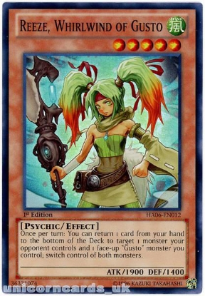 Picture of HA06-EN012 Reeze, Whirlwind of Gusto Super Rare 1st Edition Mint YuGiOh Card