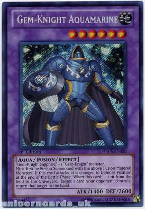 Picture of HA05-EN020 Gem-Knight Aquamarine Secret Rare 1st Edition Mint Yu-Gi-Oh! Card