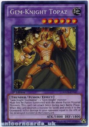 Picture of HA05-EN021 Gem-Knight Topaz Secret Rare 1st Edition Mint Yu-Gi-Oh! Card