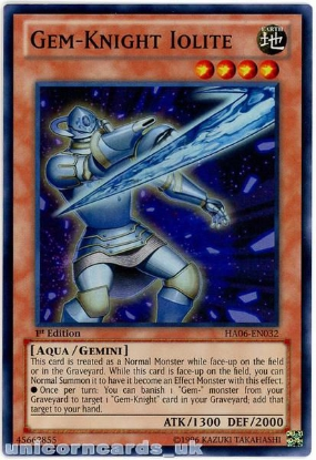 Picture of HA06-EN032 Gem-Knight Iolite Super Rare 1st Edition Mint YuGiOh Card