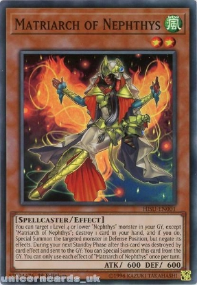 Picture of HISU-EN001 Matriarch of Nephthys Super Rare 1st Edition Mint YuGiOh Card
