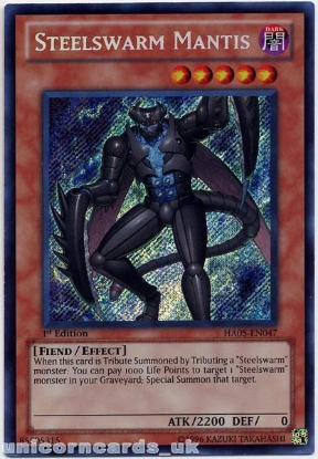 Picture of HA05-EN047 Steelswarm Mantis Secret Rare 1st Edition Mint Yu-Gi-Oh! Card