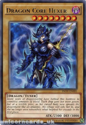 Picture of INOV-EN001 Dragon Core Hexer Rare 1st edition Mint YuGiOh Card