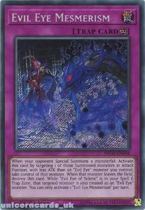 Picture of INCH-EN038 Evil Eye Mesmerism Secret Rare 1st Edition Mint YuGiOh Card