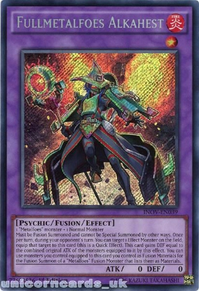 Picture of INOV-EN039 Fullmetalfoes Alkahest Secret Rare 1st edition Mint YuGiOh Card
