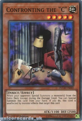 """Picture of INCH-EN040 Confronting the """"C"""" Super Rare 1st Edition Mint YuGiOh Card"""
