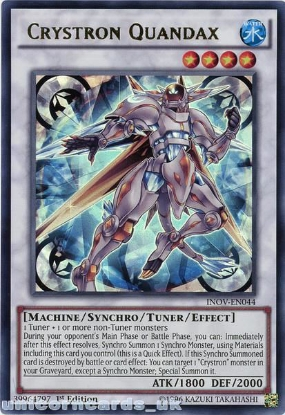 Picture of INOV-EN044 Crystron Quandax Ultra Rare 1st edition Mint YuGiOh Card