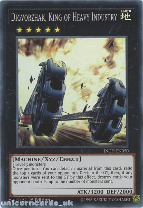 Picture of INCH-EN050 Digvorzhak, King of Heavy Industry Super Rare 1st Edition Mint YuGiOh Card