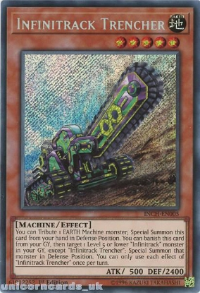 Picture of INCH-EN005 Infinitrack Trencher Secret Rare 1st Edition Mint YuGiOh Card