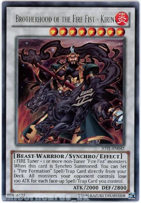 Picture of JOTL-EN042 Brotherhood of the Fire Fist - Kirin Rare UNL Edition YuGiOh Card