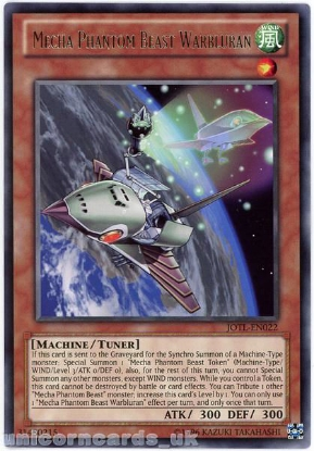 Picture of JOTL-EN022 Mecha Phantom Beast Warbluran Rare UNL Edition Mint YuGiOh Card