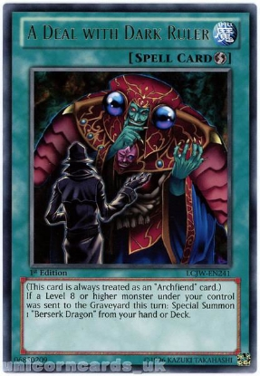 Picture of LCJW-EN241 A Deal with Dark Ruler Rare 1st Edition Mint YuGiOh Card
