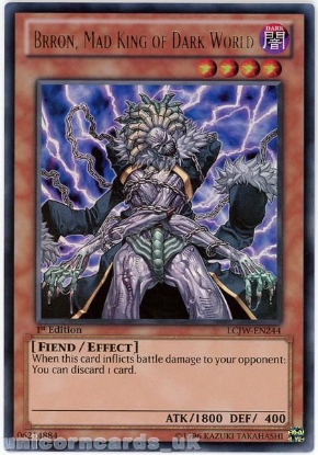 Picture of LCJW-EN244 Brron, Mad King of Dark World Ultra Rare 1st Edition Mint YuGiOh Card