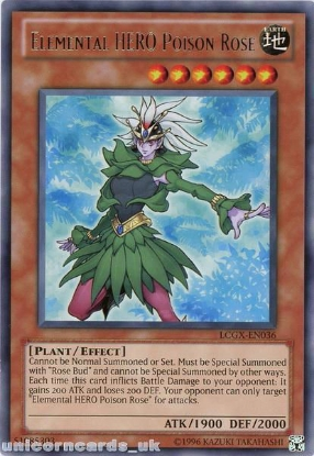 Picture of LCGX-EN036 Elemental HERO Poison Rose Rare UNL Edition Mint YuGiOh Card