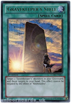 Picture of LCJW-EN261 Gravekeeper's Stele Ultra Rare 1st Edition Mint YuGiOh Card