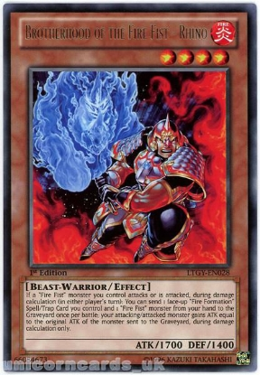 Picture of LTGY-EN028 Brotherhood of the Fire Fist - Rhino Rare 1st Edition YuGiOh Card