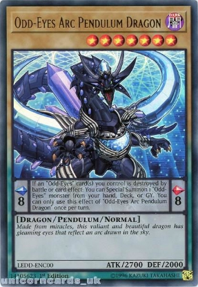 Picture of LEDD-ENC00 Odd-Eyes Arc Pendulum Dragon Ultra Rare 1st Edition Mint YuGiOh Card