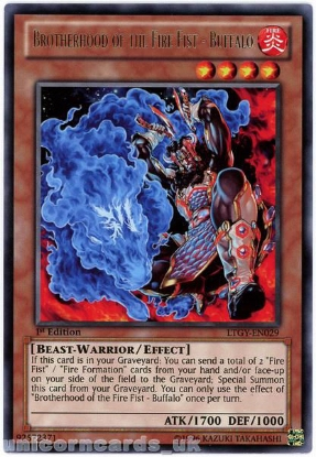 Picture of LTGY-EN029 Brotherhood of the Fire Fist - Buffalo Rare 1st Edition YuGiOh Card