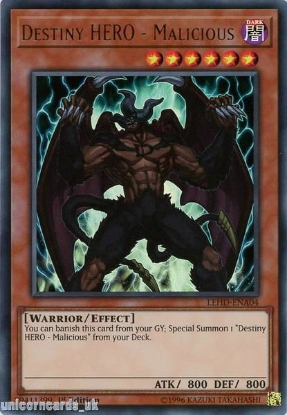 Picture of LEHD-ENA04 Destiny HERO - Malicious Common 1st Edition Mint YuGiOh Card