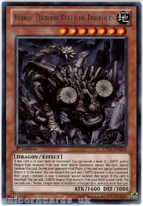 Picture of LTGY-EN038 Redox, Dragon Ruler of Boulders Rare 1st Edition Mint YuGiOh Card
