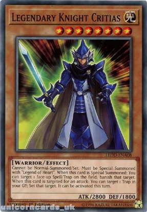 Picture of LEDD-ENA08 Legendary Knight Critias 1st Edition Mint YuGiOh Card